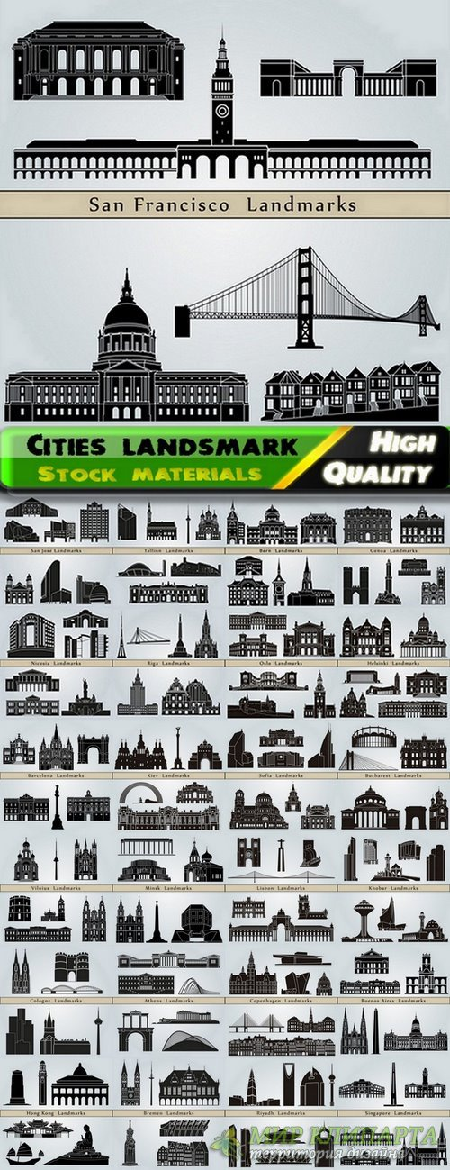 Different cities landsmark and skyline in vector from stock - 25 Eps