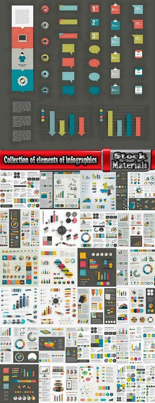 Collection of elements of infographics vector image 25 Eps