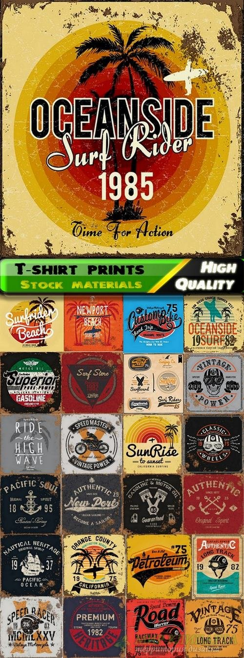 T-shirt prints design in vector from stock #12 - 25 Eps