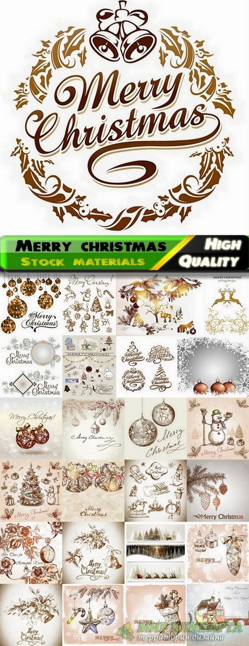 Merry christmas template design in gold - 25 Eps