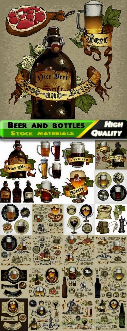 Beer and bottles for oktoberfest in vector from stock - 25 Eps