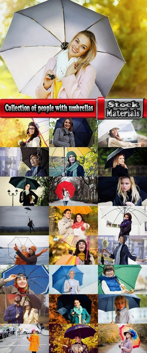 Collection of people with umbrellas 25 UHQ Jpeg