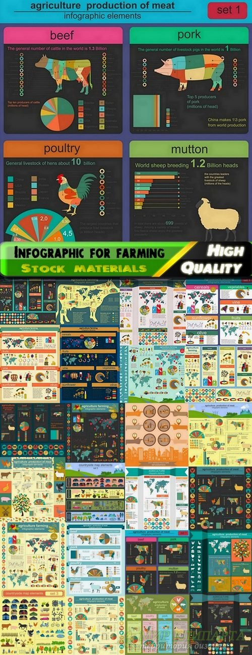 Infographic for farming in vector from stock - 25 Eps