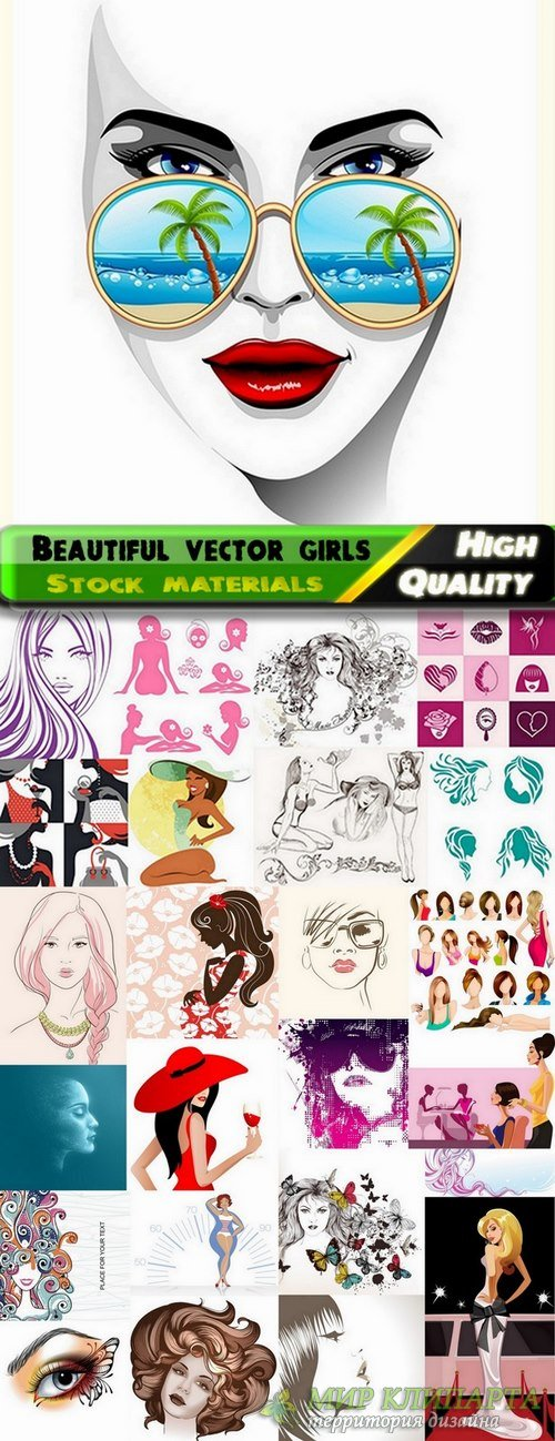 Beautiful vector girls and logos from stock - 25 Eps
