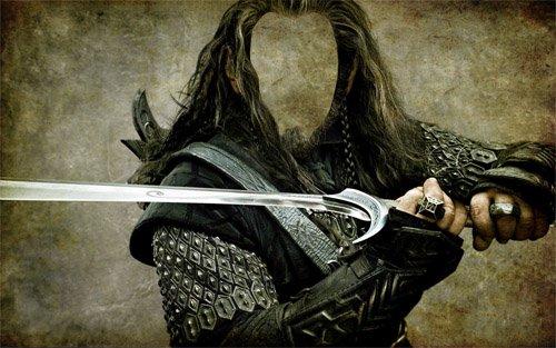 Воин со своим мечом - Шаблон для фотомонтажа