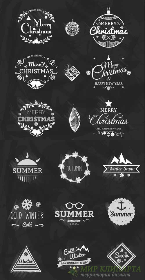 Chalked holiday tags