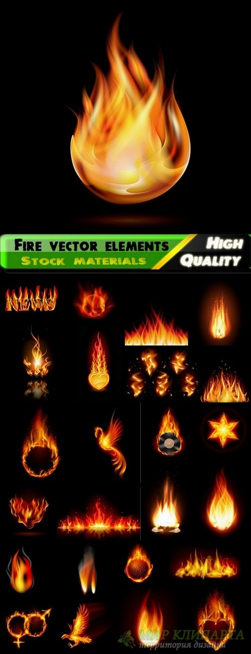 Fire vector elements from stock - 25 Eps