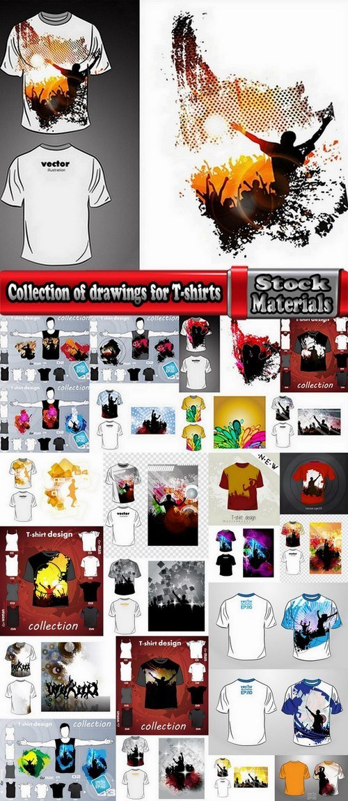 Collection of drawings for T-shirts #2-25 Eps