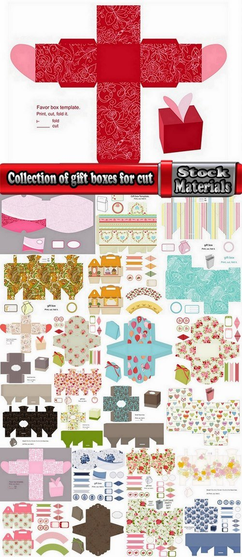 Collection of gift boxes for cut vector image 25 Eps