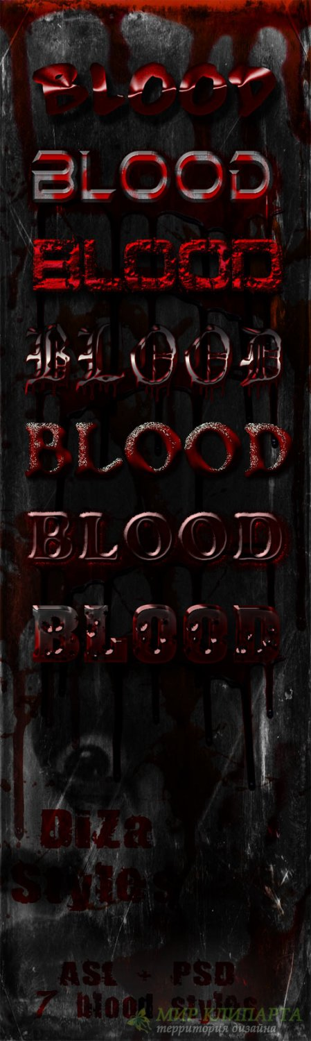Horror styles of red blood