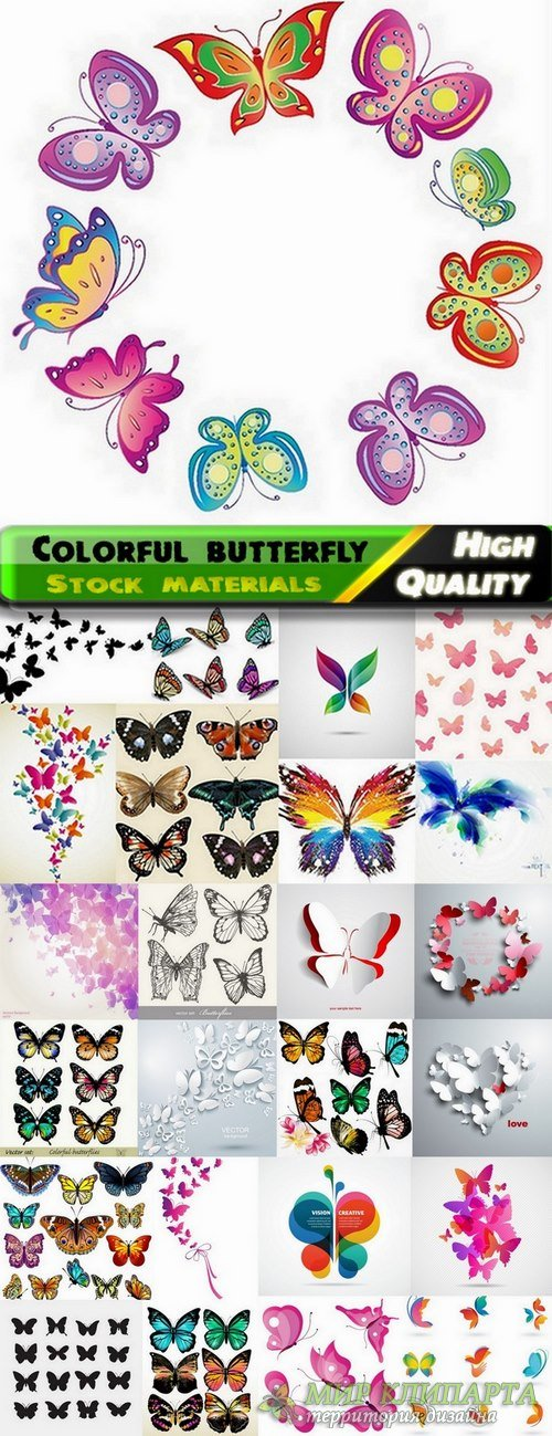Colorful butterfly in vector from stock - 25 Eps