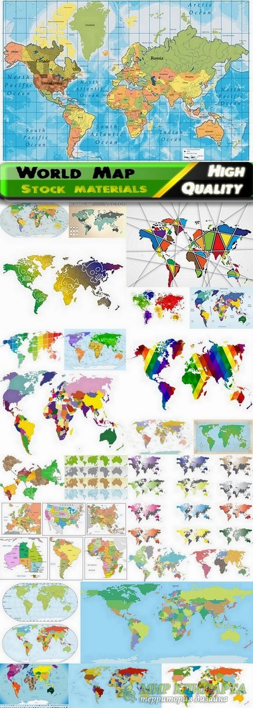 World Map and countris maps in vector from stock - 25 Eps