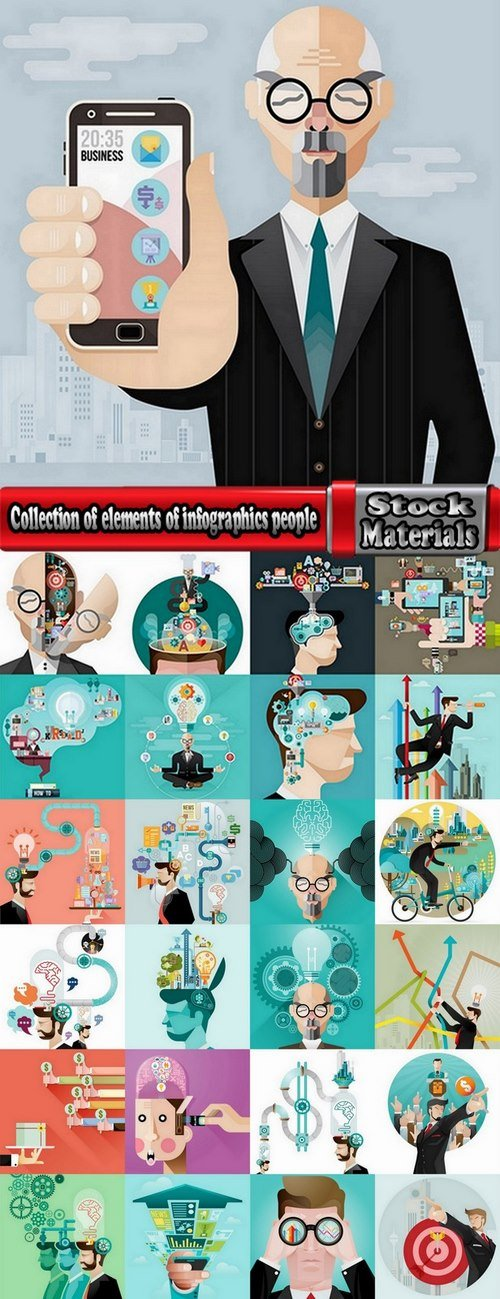 Collection of elements of infographics people vector image 25 Eps