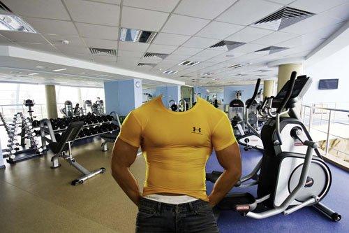 Photoshop шаблон - Мускулистый парень в зале для тренировок