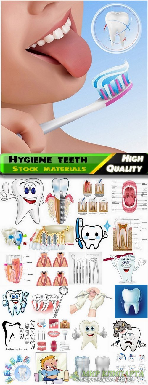 Hygiene teeth vector elements from stock - 25 Eps