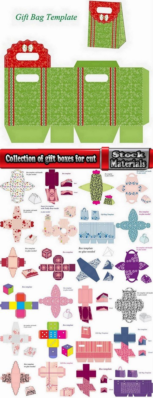 Collection of gift boxes for cut vector image #2-25 Eps