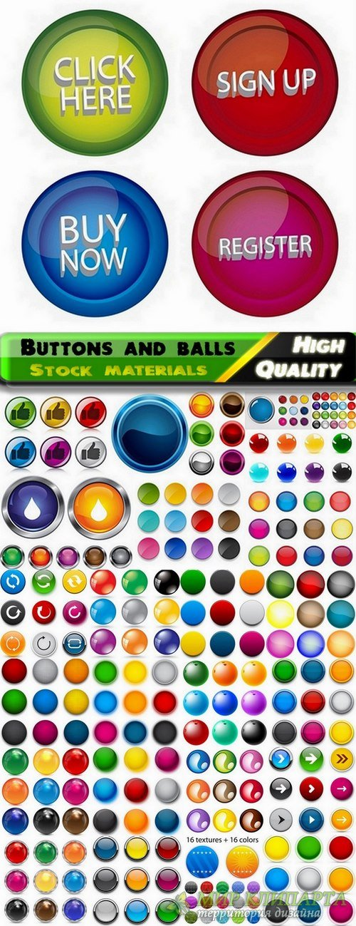 Glass buttons and balls in vector from stock - 25 Eps