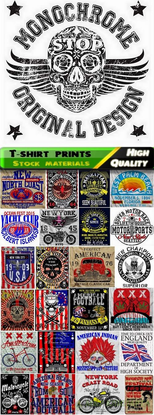 T-shirt prints design in vector from stock #13 - 25 Eps + 25 Ai