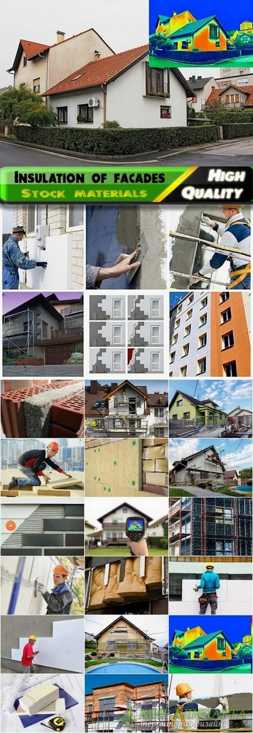 Insulation of facades and home repair Stock images - 25 Eps