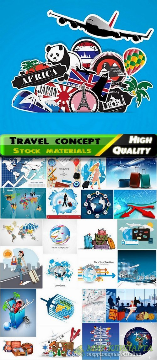 Travel concept and vacation in vector from stock - 25 Eps