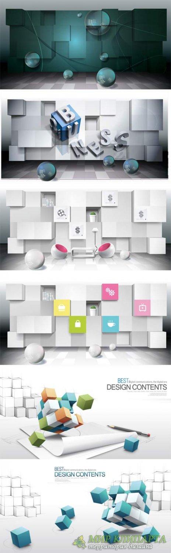 3D векторные  фоны различной тематики