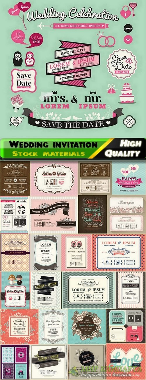 Template for Wedding invitation in vector from stock #3 - 25 Eps