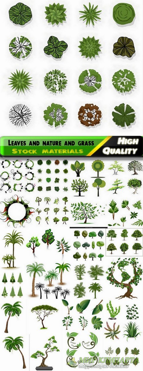 Vector leaves and nature and grass from stock - 25 Eps