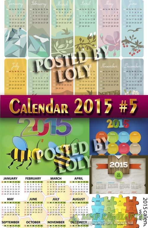 Календарные сетки 2015 #5 - Векторный клипарт