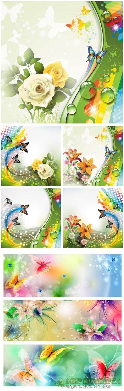 Фантастические фоны с цветами и бабочками