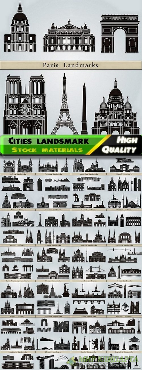 Different cities landsmark and skyline in vector from stock #2 - 25 Eps