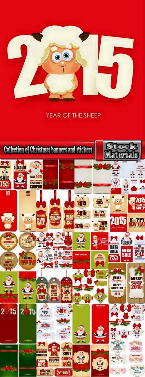 Collection of Christmas banners and stickers 25 Ai