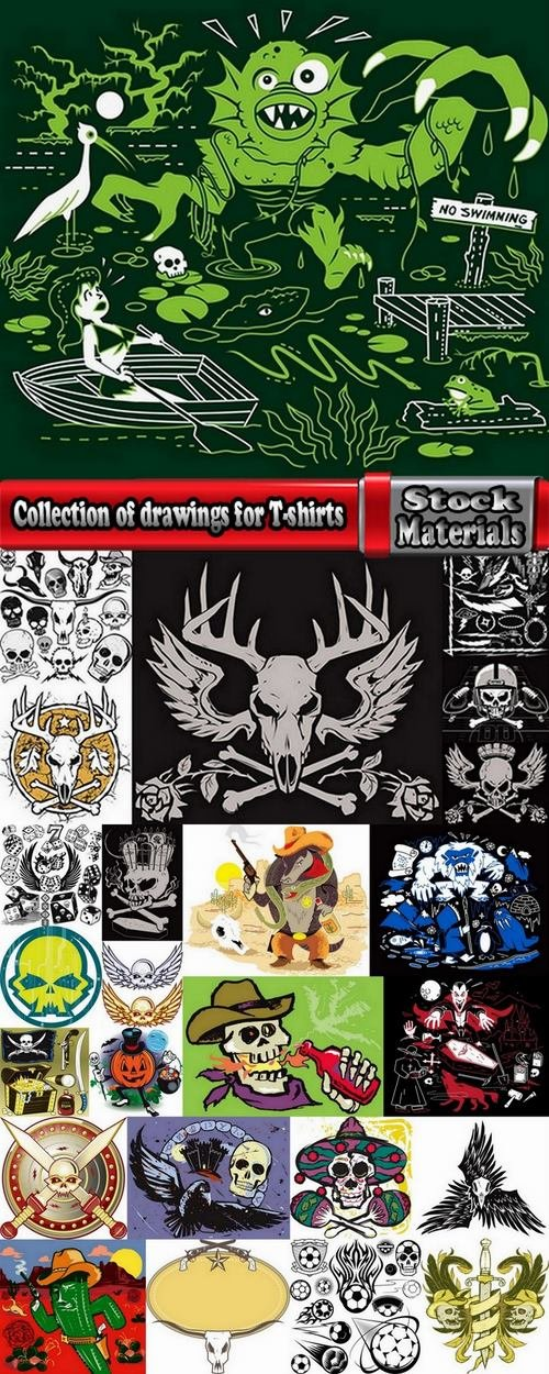 Collection of drawings for T-shirts #3-25 Eps