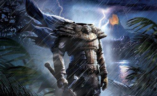 Photoshop шаблон - Таинственный воин с оружием
