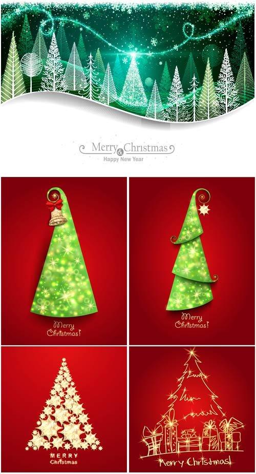 Новогодние елки - векторный клипарт