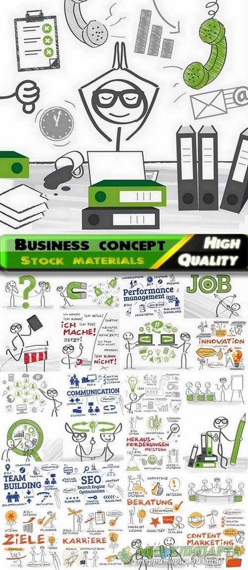 Business concept vector illustrations from stock - 25 Eps