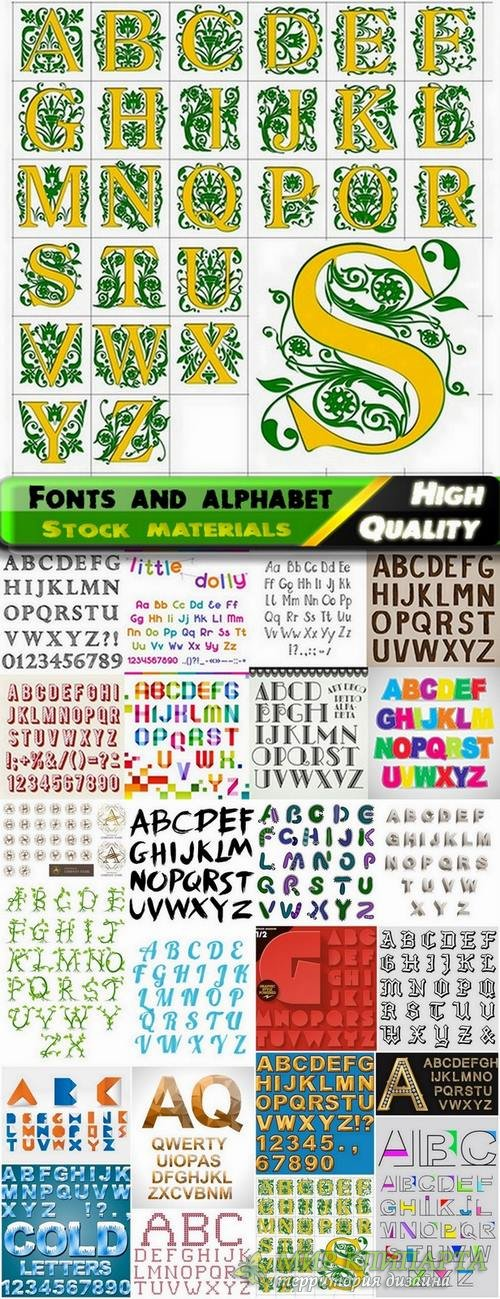 Different Fonts and alphabet in vector from stock #4 - 25 Eps