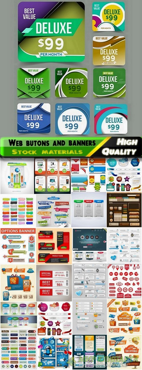 Web butons and banners in vector from stock - 25 Eps