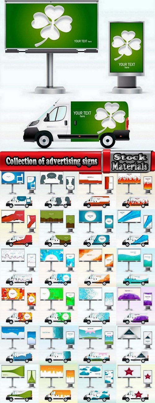 Collection of advertising signs 25 Eps