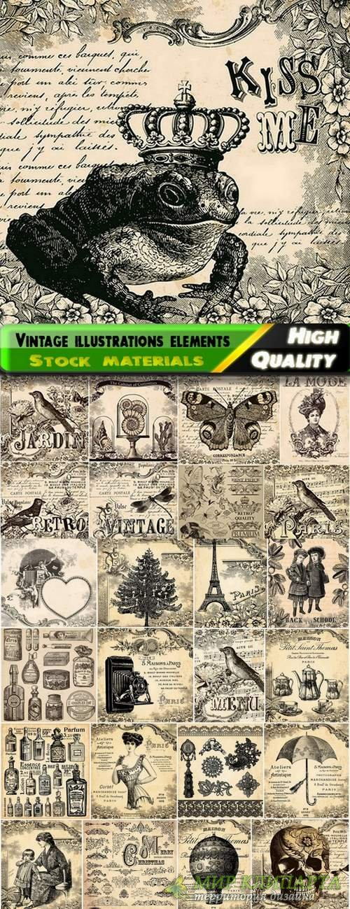 Vintage illustrations elements and objects hand drawn - 25 Eps