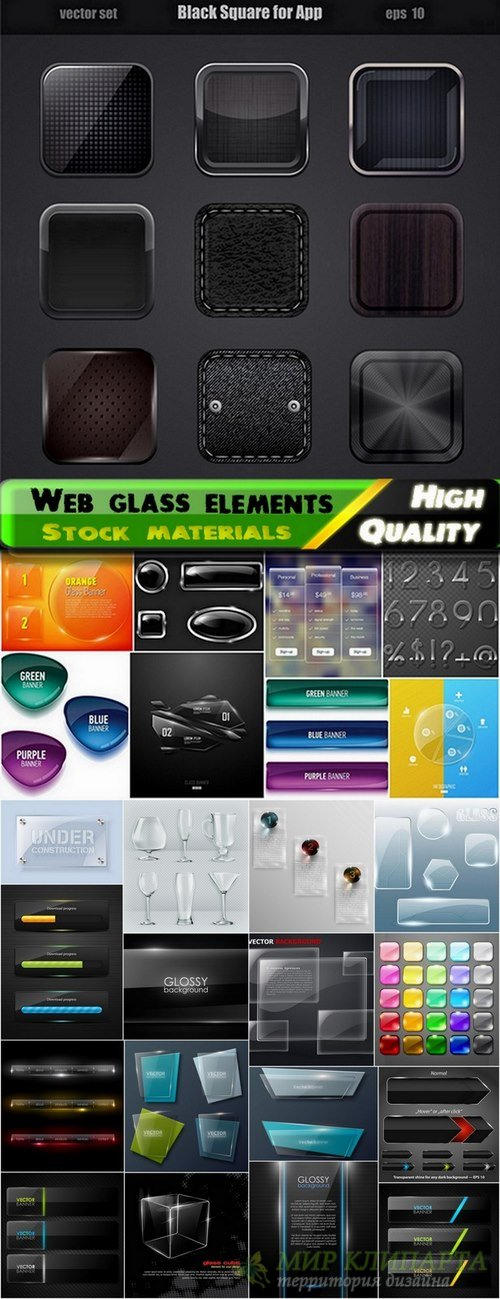 Web glass vector elements from stock - 25 Eps