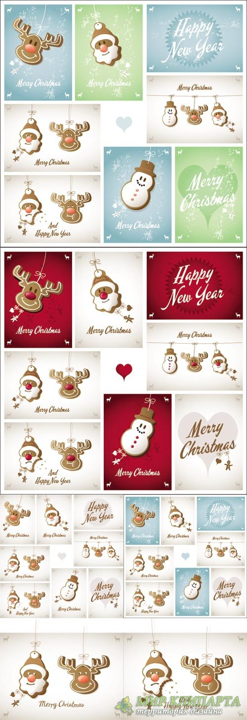 Christmas background with Santa, reindeer and snowman