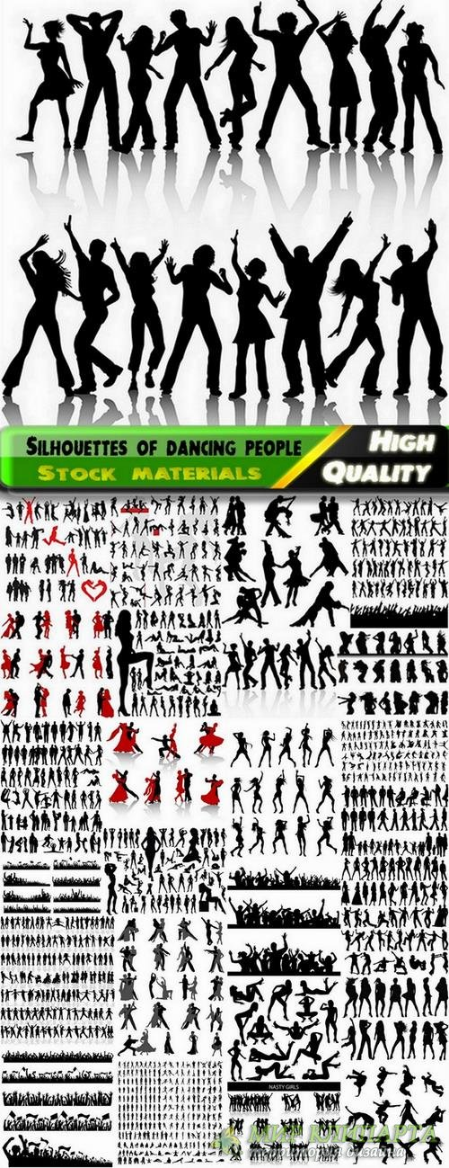 Big set of silhouettes of dancing people - 25 Eps