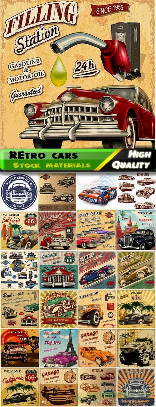Retro garage design and vector cars from stock - 25 Eps