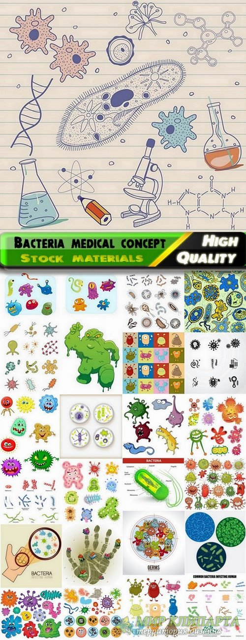 Bacteria medical concept in vector from stock - 25 Eps