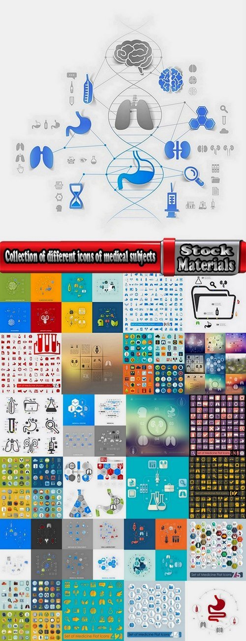 Collection of different icons of medical subjects 25 Eps