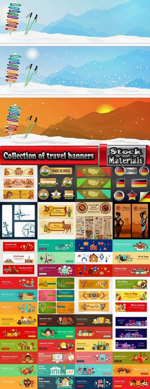 Collection of travel banners 25 Eps