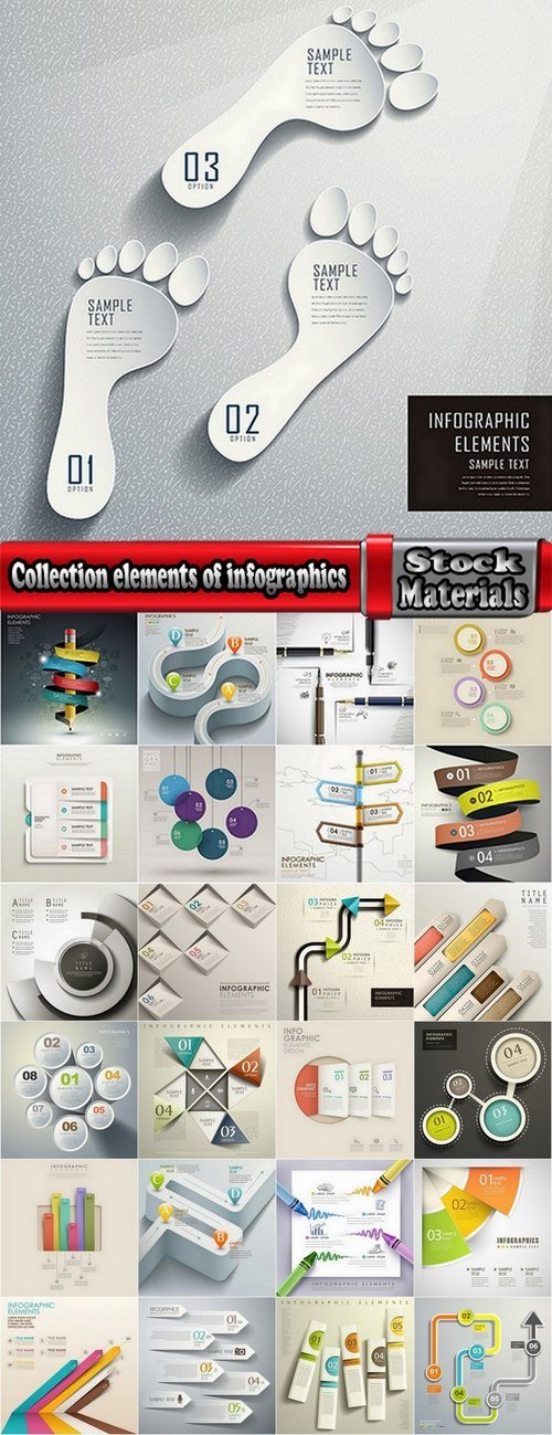 Collection elements of infographics vector image #6-25 Eps
