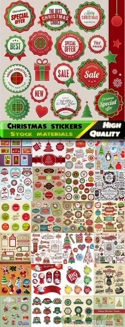 Christmas vector stickers and elements from stock - 25 Eps