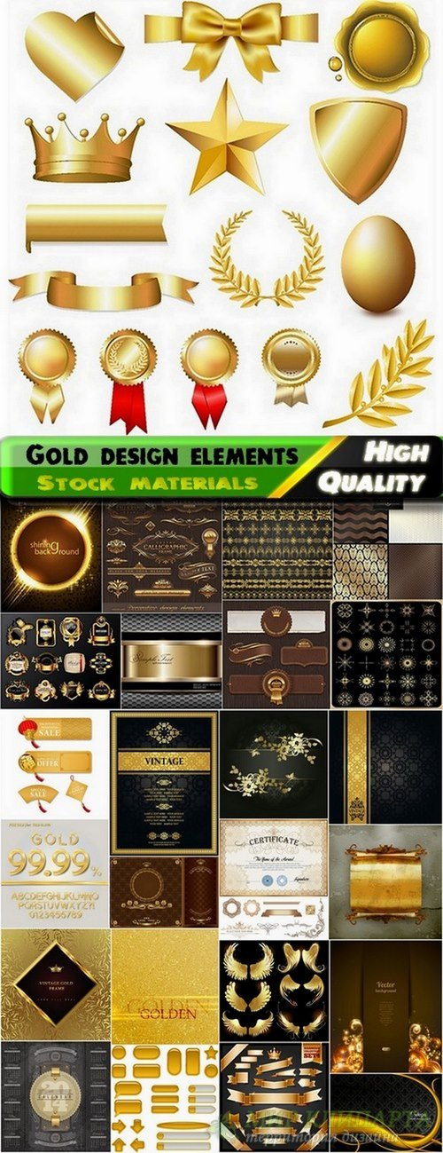 Different gold design elements in vector from stock #4 - 25 Eps