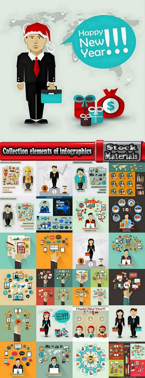 Collection elements of infographics vector image #7-25 Eps